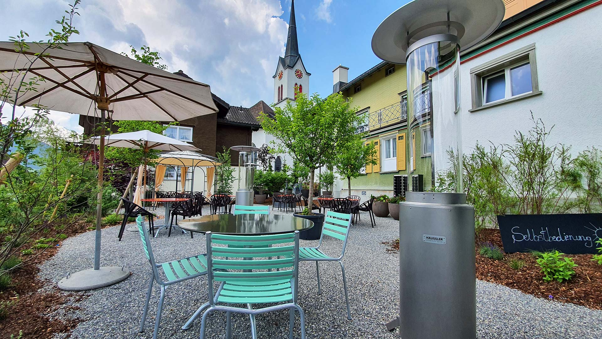 Terrasse des Restaurant Löwen in Gonten, Appenzell