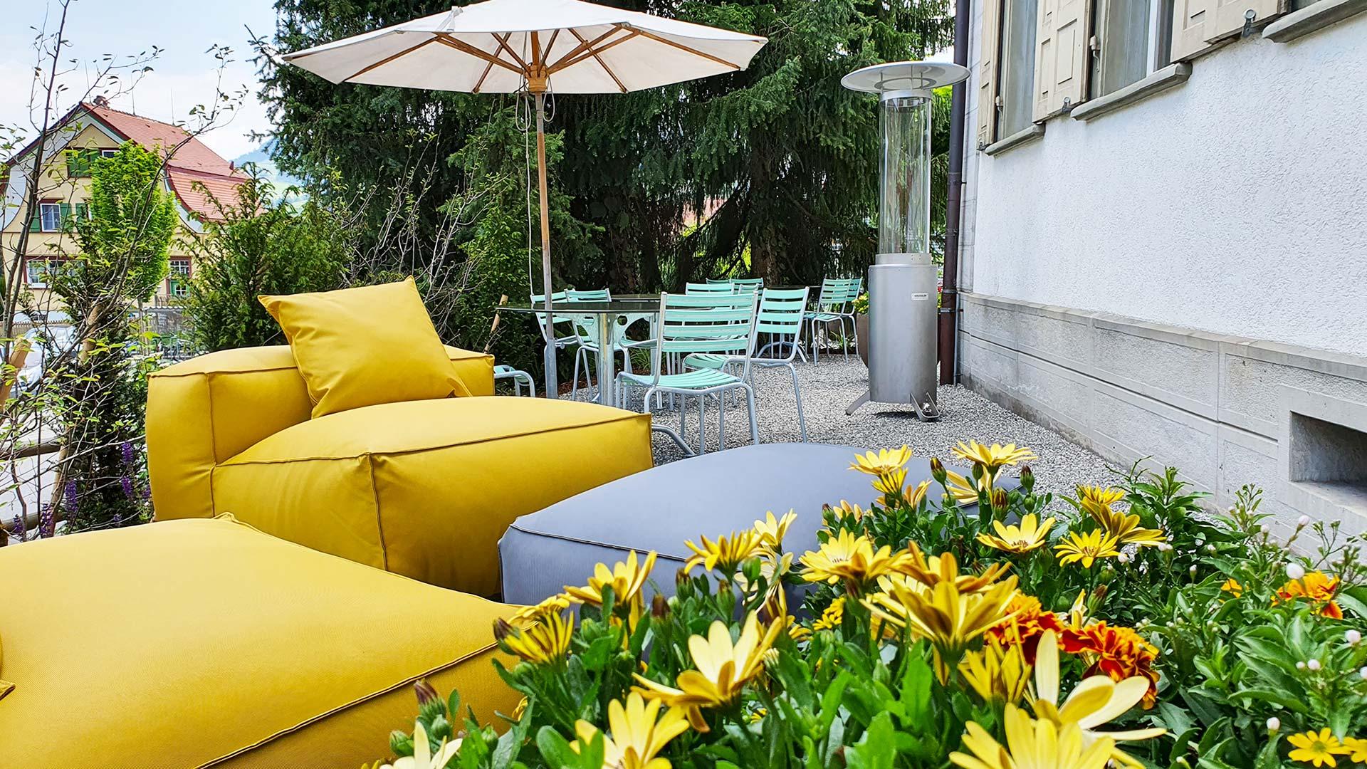 Restaurant Löwen mit Terrasse in Gonten. Besuchen Sie uns auf der neu erstellten Terrasse des Leuen in Gonten!